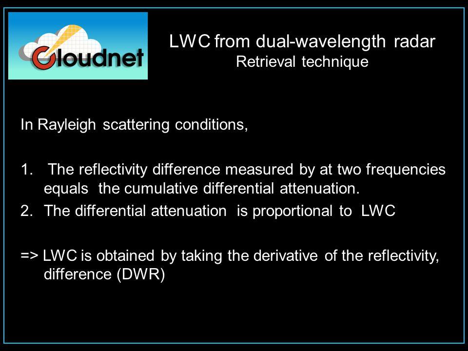LWC from dual-wavelength radar Why getting maximum sensitivity is crucial Reflectivity at 1 km