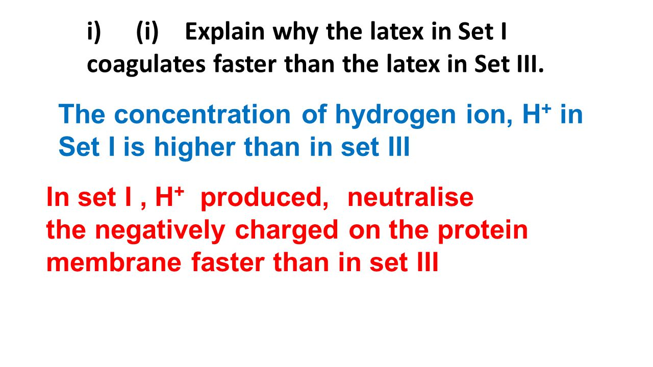 i) (i) Explain why the latex in Set I coagulates faster than the latex in Set III.