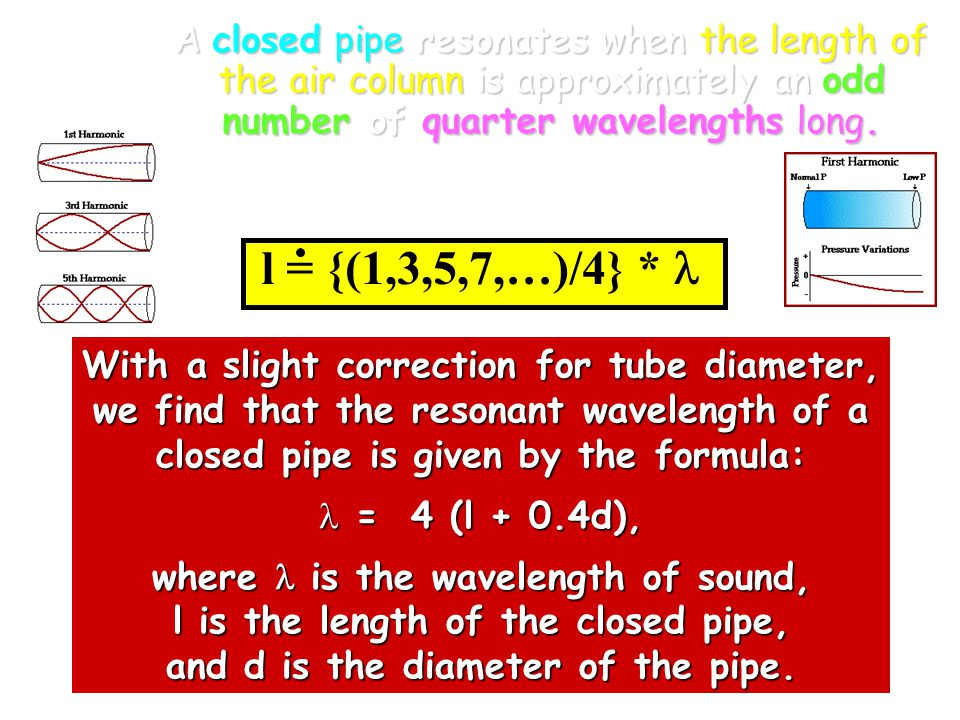 A closed pipe resonates when the length of the air column is approximately an odd number of quarter wavelengths long.