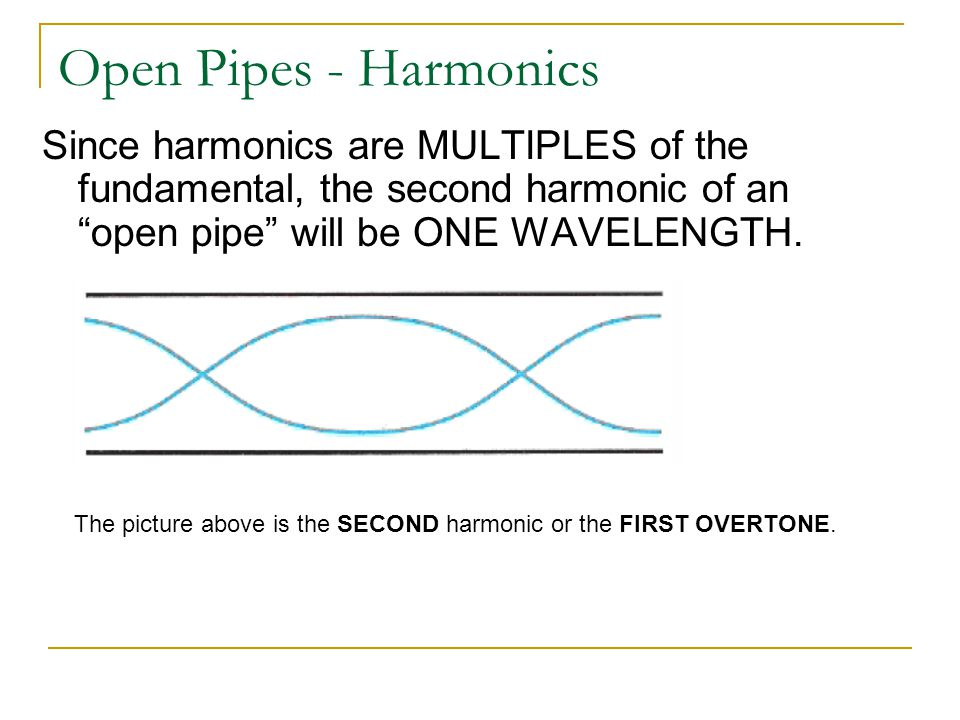 Open Pipes - Harmonics Since harmonics are MULTIPLES of the fundamental, the second harmonic of an open pipe will be ONE WAVELENGTH.