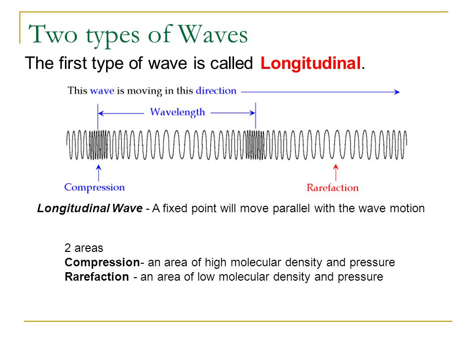 Two types of Waves The first type of wave is called Longitudinal. Longitudinal Wave - A fixed point will move parallel with the wave motion 2 areas Co