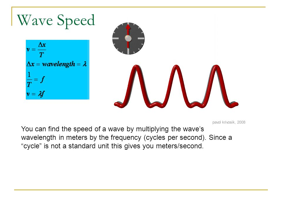 """Wave Speed You can find the speed of a wave by multiplying the wave's wavelength in meters by the frequency (cycles per second). Since a """"cycle"""" is no"""