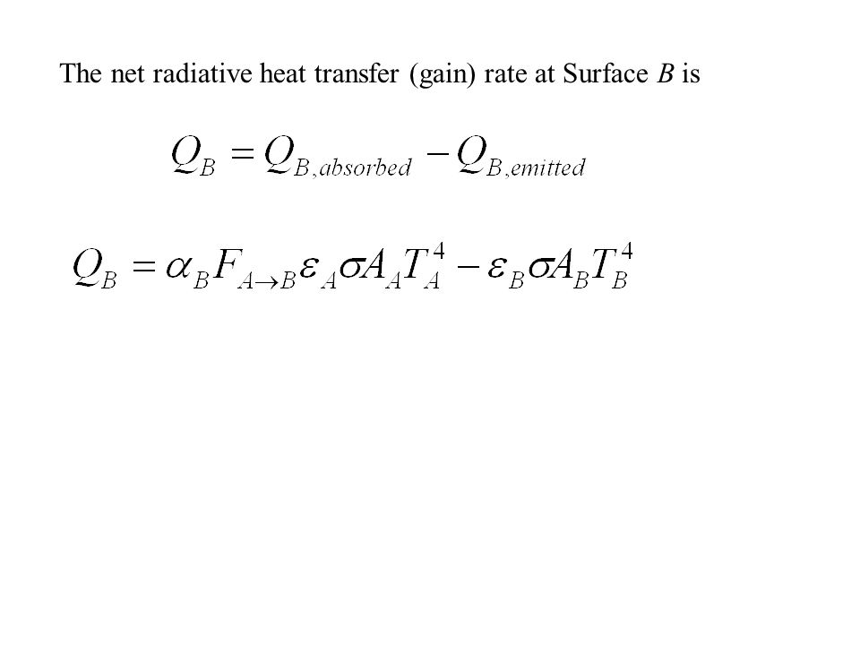 The amount of radiation striking Surface B is therefore: The only portion of the incident radiation contributing to heating Surface B is the absorbed