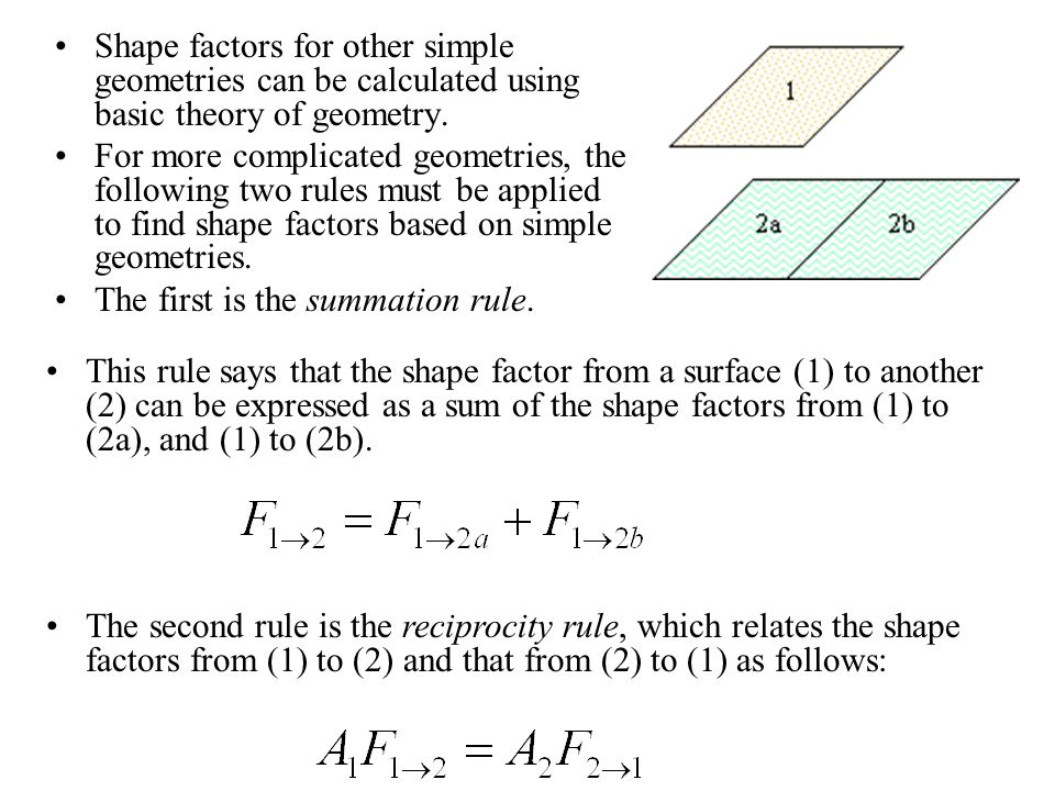 Shape Factors Shape factor, F, is a geometrical factor which is determined by the shapes and relative locations of two surfaces. Figure illustrates th