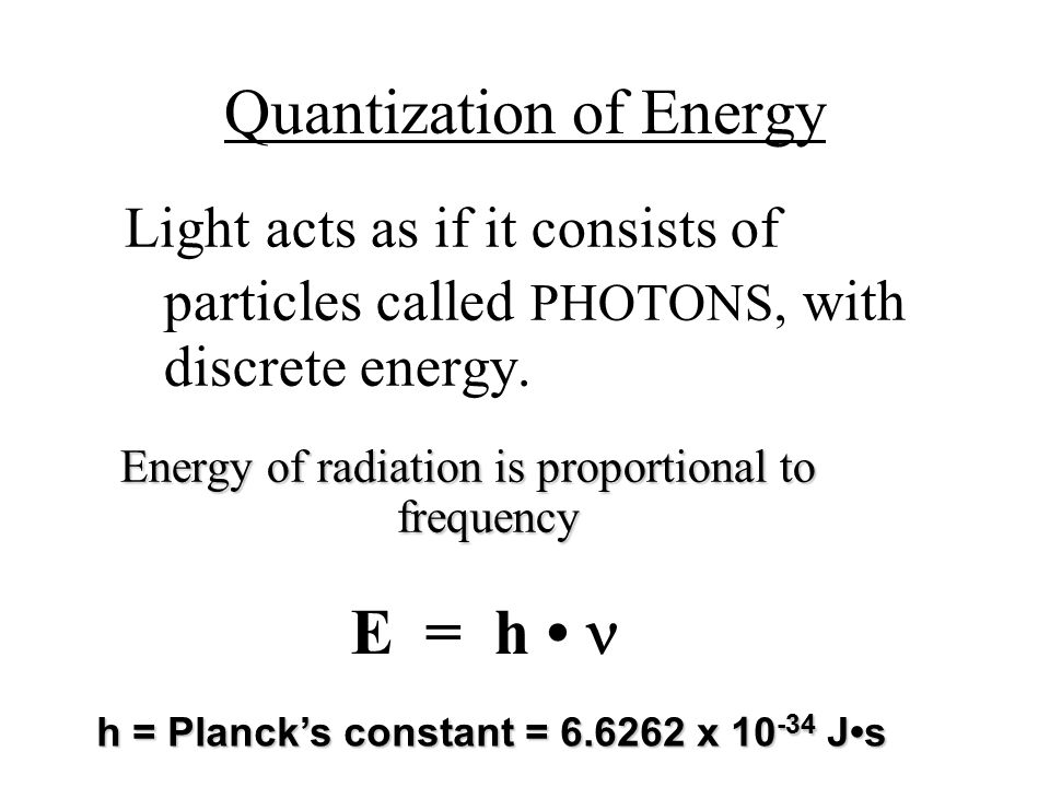 Energy of radiation is proportional to frequency h = Planck's constant = 6.6262 x 10 -34 Js Light acts as if it consists of particles called PHOTONS, with discrete energy.