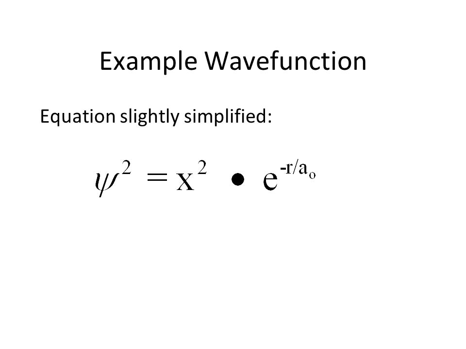 Example Wavefunction Equation slightly simplified: