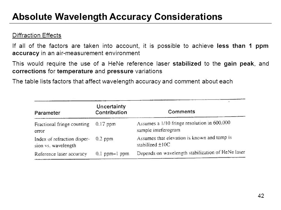 42 Absolute Wavelength Accuracy Considerations Diffraction Effects If all of the factors are taken into account, it is possible to achieve less than 1 ppm accuracy in an air-measurement environment This would require the use of a HeNe reference laser stabilized to the gain peak, and corrections for temperature and pressure variations The table lists factors that affect wavelength accuracy and comment about each