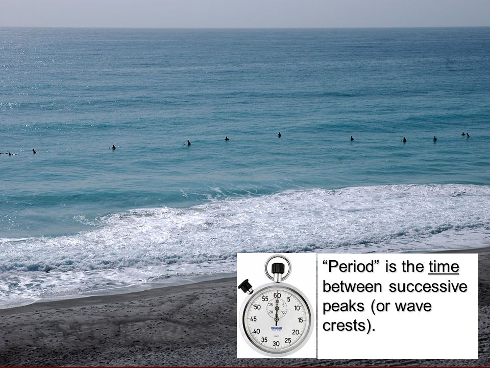 """Period"" is the time between successive peaks (or wave crests)."