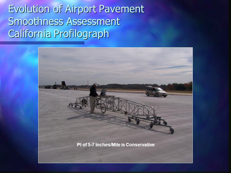 Evolution of Airport Pavement Smoothness Assessment California Profilograph PI of 5-7 Inches/Mile is Conservative