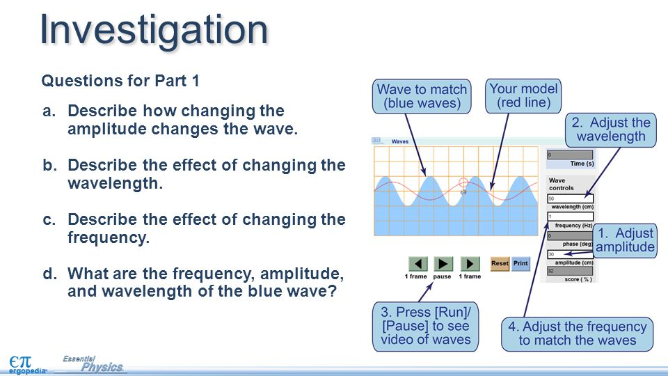 a.Describe how changing the amplitude changes the wave. b.Describe the effect of changing the wavelength. c.Describe the effect of changing the freque