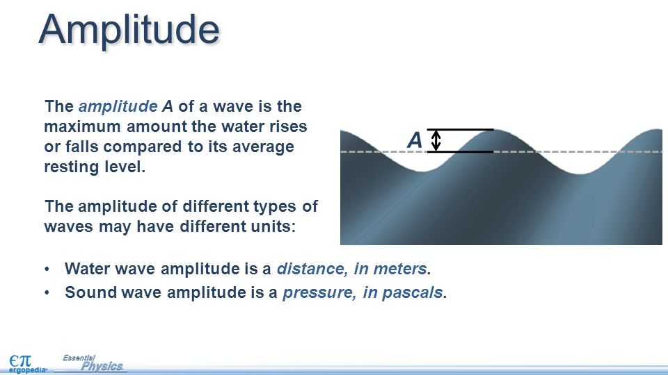 A The amplitude A of a wave is the maximum amount the water rises or falls compared to its average resting level. The amplitude of different types of