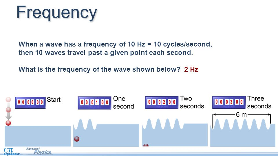 When a wave has a frequency of 10 Hz = 10 cycles/second, then 10 waves travel past a given point each second. What is the frequency of the wave shown