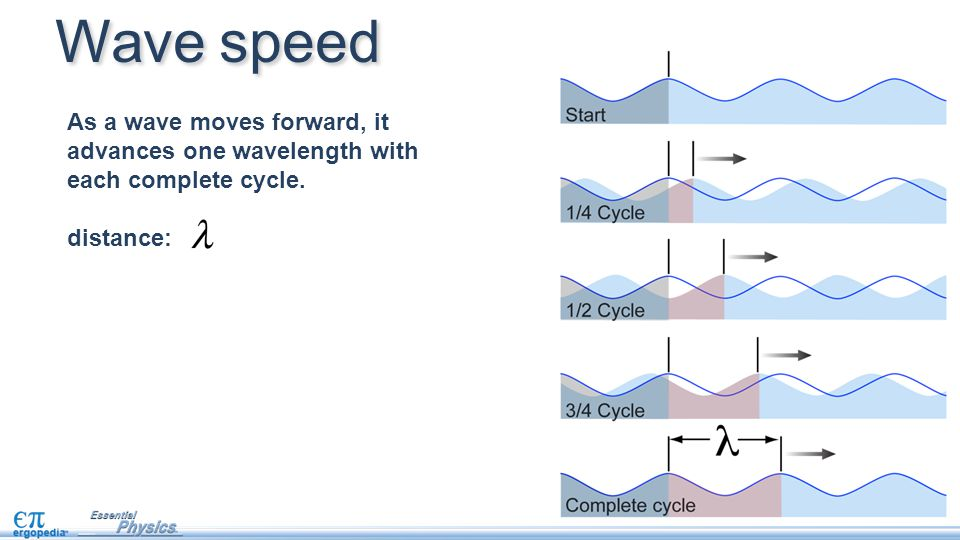 As a wave moves forward, it advances one wavelength with each complete cycle. distance: Wave speed