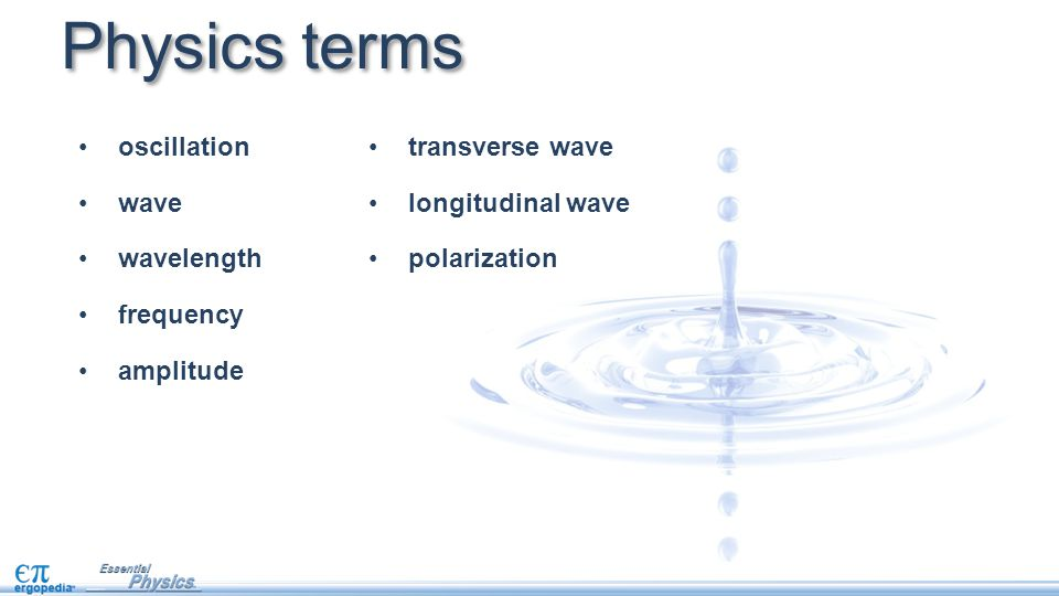 Physics terms oscillation wave wavelength frequency amplitude transverse wave longitudinal wave polarization