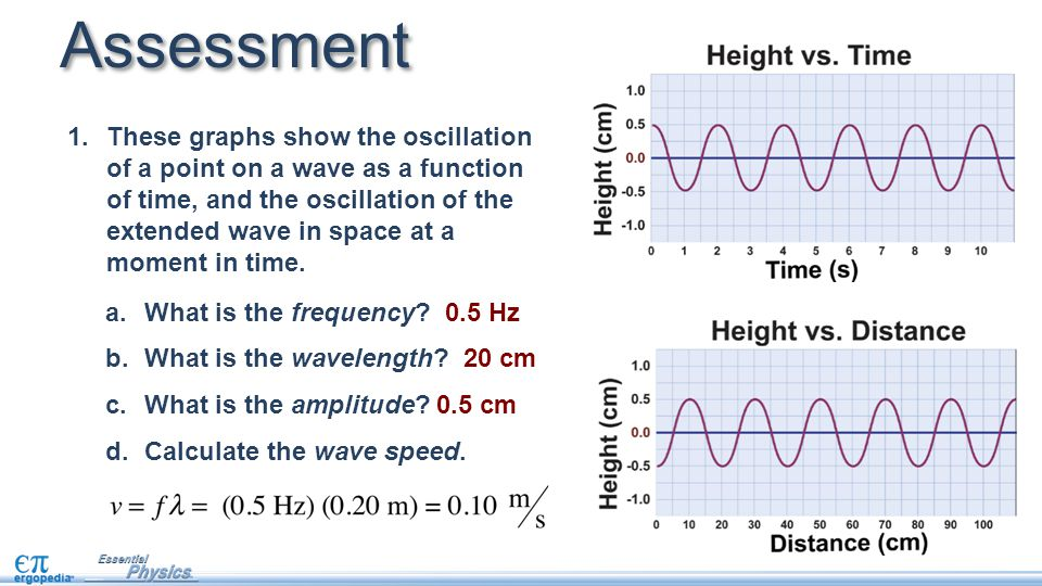 Assessment 1.These graphs show the oscillation of a point on a wave as a function of time, and the oscillation of the extended wave in space at a mome