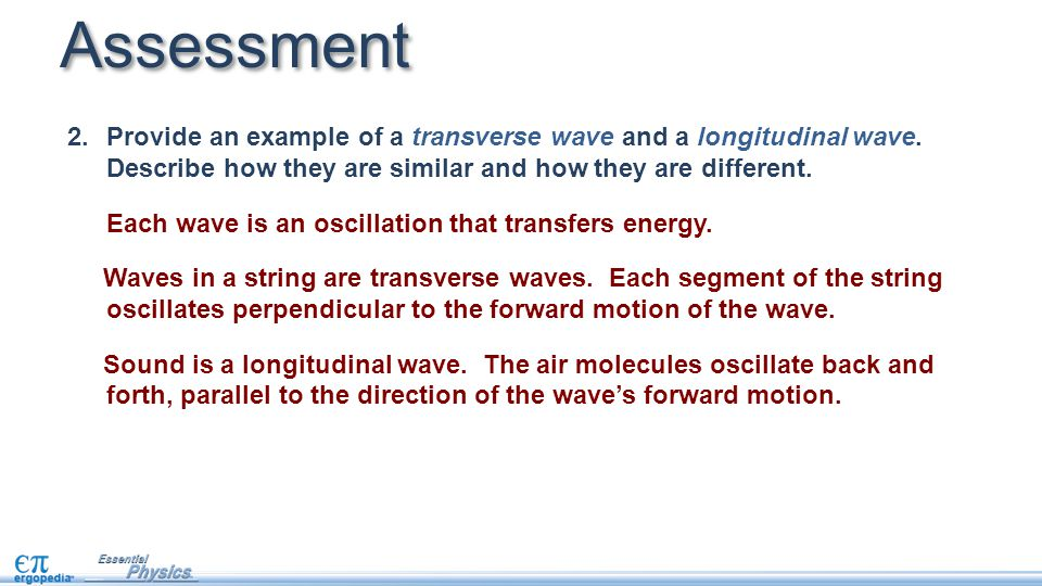 2.Provide an example of a transverse wave and a longitudinal wave. Describe how they are similar and how they are different. Each wave is an oscillati