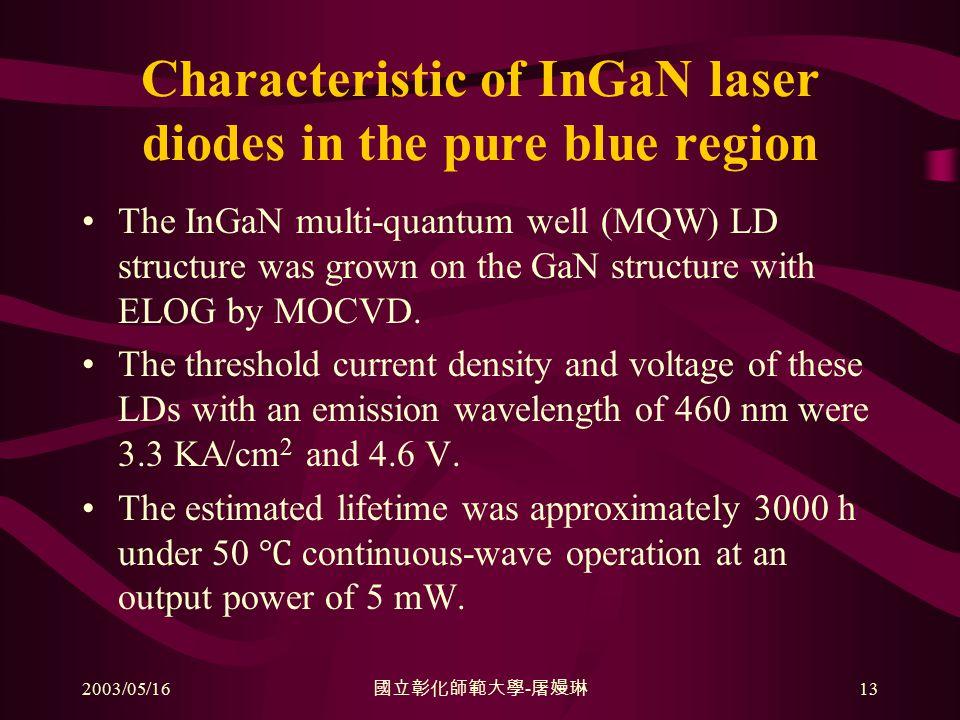 2003/05/16 國立彰化師範大學 - 屠嫚琳 13 Characteristic of InGaN laser diodes in the pure blue region The InGaN multi-quantum well (MQW) LD structure was grown on the GaN structure with ELOG by MOCVD.