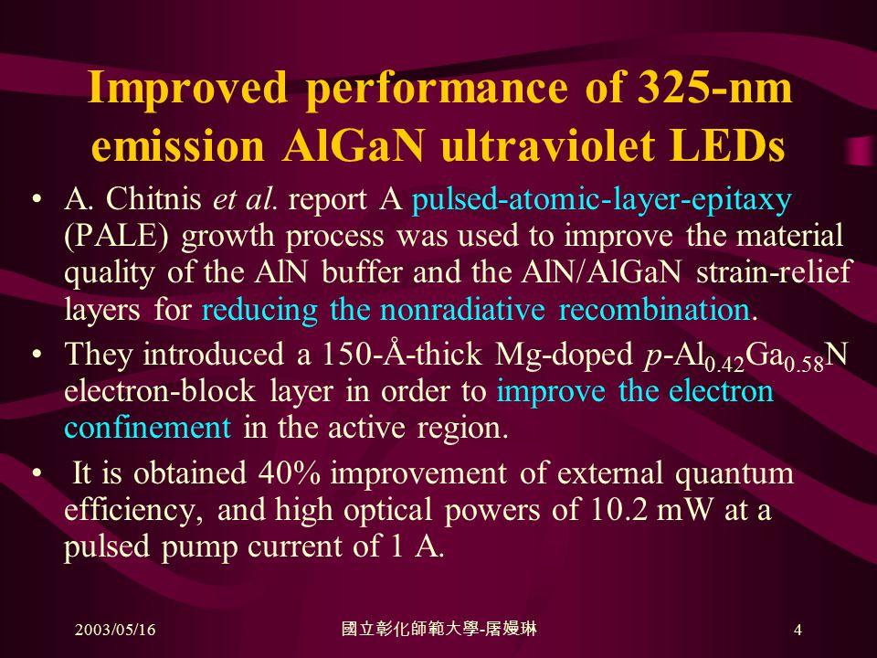 2003/05/16 國立彰化師範大學 - 屠嫚琳 4 Improved performance of 325-nm emission AlGaN ultraviolet LEDs A.