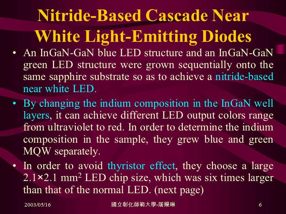 2003/05/16 國立彰化師範大學 - 屠嫚琳 6 Nitride-Based Cascade Near White Light-Emitting Diodes An InGaN-GaN blue LED structure and an InGaN-GaN green LED structure were grown sequentially onto the same sapphire substrate so as to achieve a nitride-based near white LED.