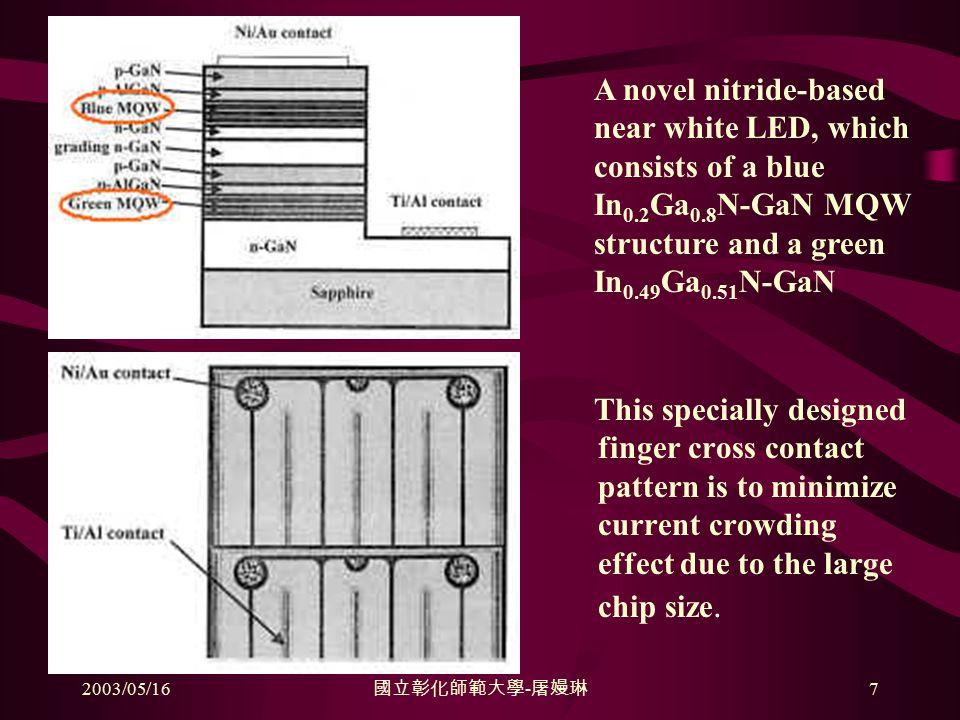 2003/05/16 國立彰化師範大學 - 屠嫚琳 7 This specially designed finger cross contact pattern is to minimize current crowding effect due to the large chip size.