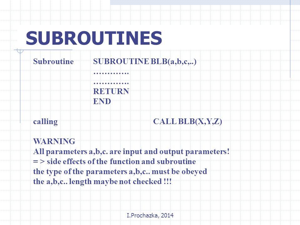 I.Prochazka, 2014 SUBROUTINES SubroutineSUBROUTINE BLB(a,b,c,..) ………….