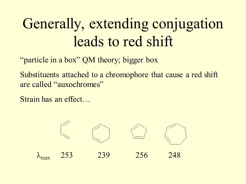 Generally, extending conjugation leads to red shift particle in a box QM theory; bigger box Substituents attached to a chromophore that cause a red shift are called auxochromes Strain has an effect… max 253 239 256 248