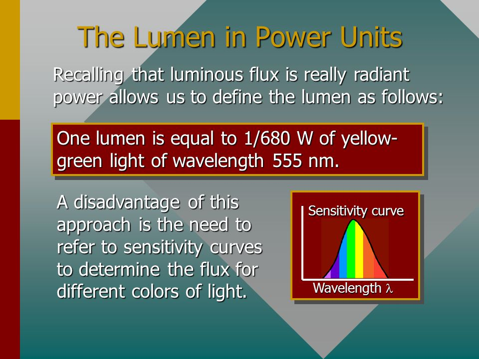 The Lumen as a Unit of Flux One lumen (lm) is the luminous flux emitted from a 1/60 cm 2 opening in a standard source and included in a solid angle of