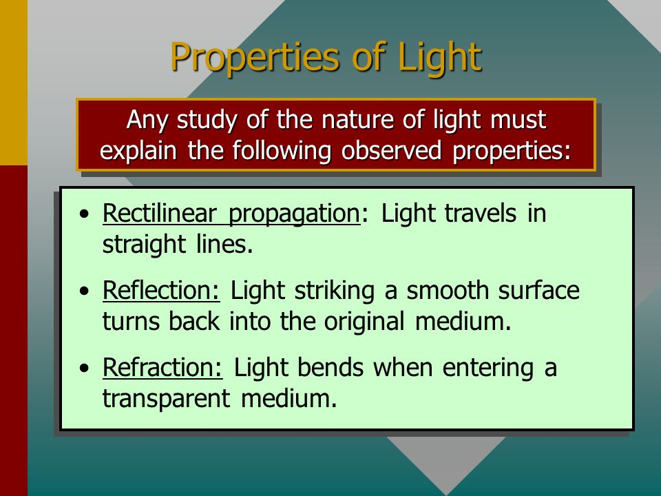 Properties of Light Rectilinear propagation: Light travels in straight lines.