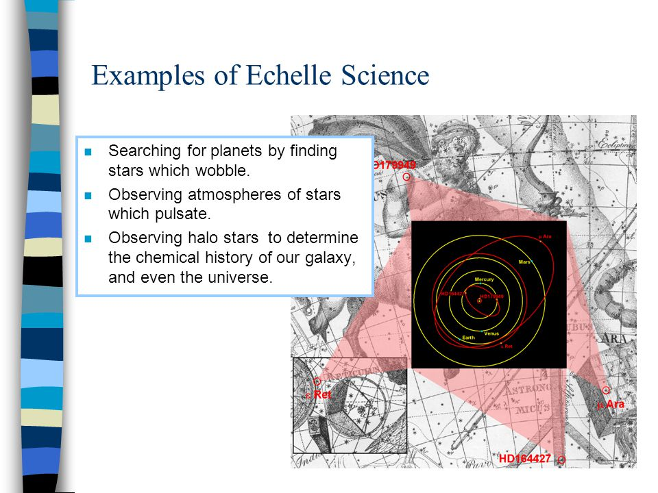 Examples of Echelle Science n Searching for planets by finding stars which wobble.