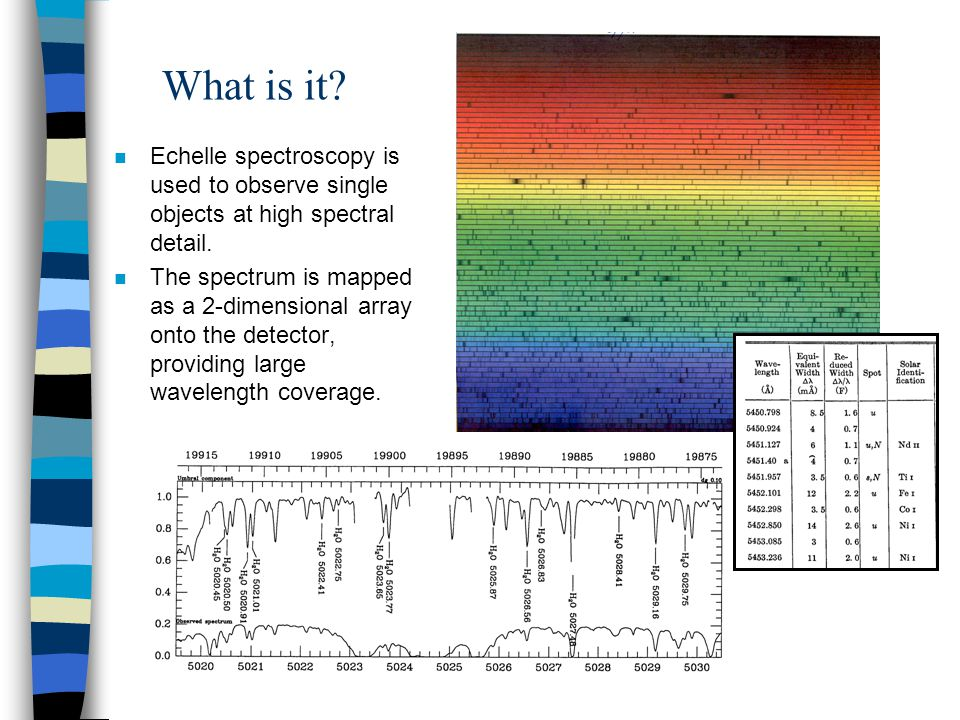 What is it? n Echelle spectroscopy is used to observe single objects at high spectral detail. n The spectrum is mapped as a 2-dimensional array onto t