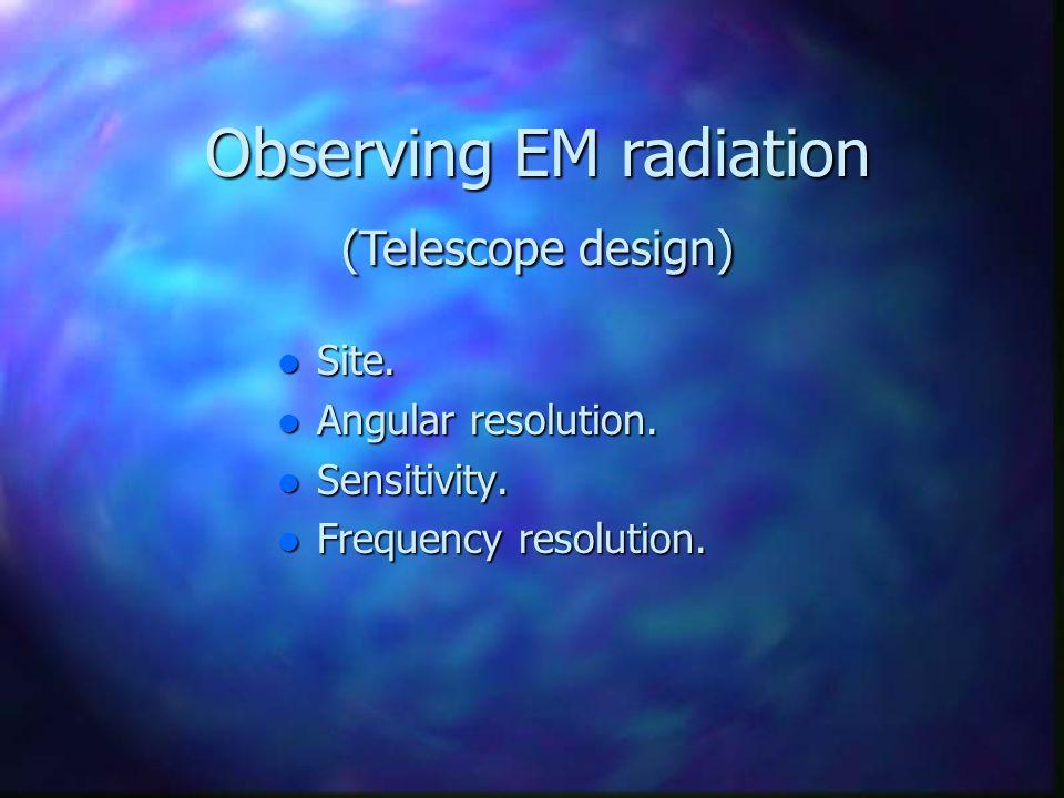 Observing EM radiation Observing EM radiation Site. Site. Angular resolution. Angular resolution. Sensitivity. Sensitivity. Frequency resolution. Freq