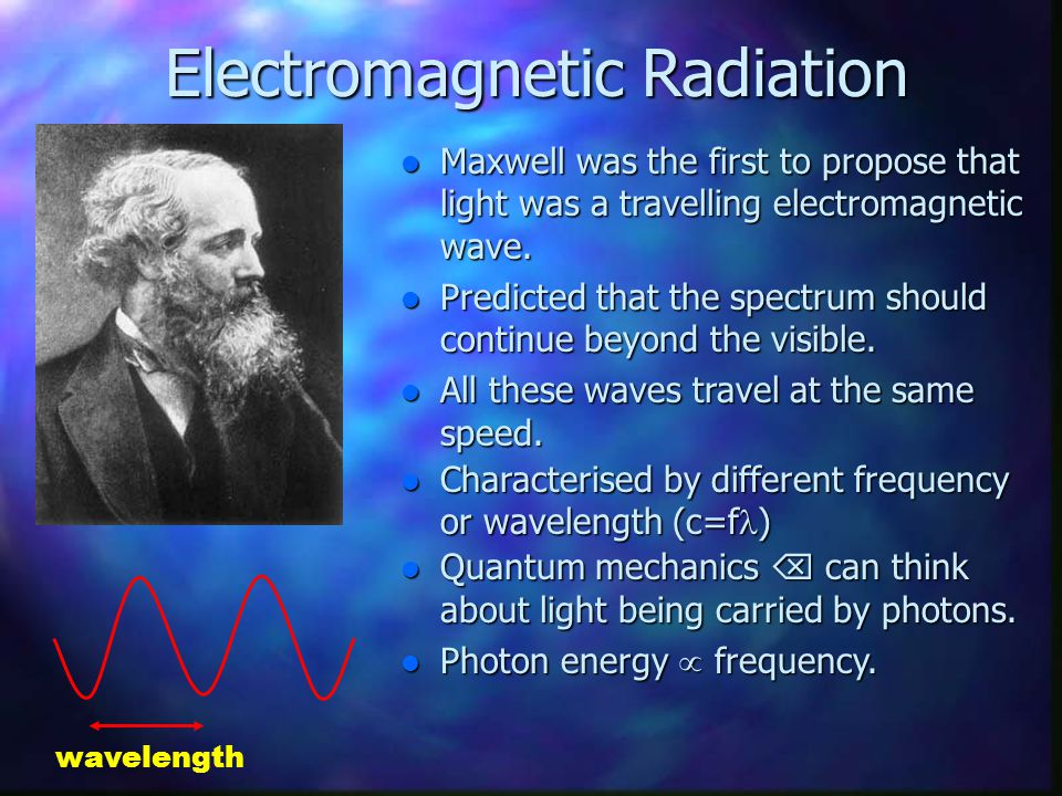 Electromagnetic Radiation Electromagnetic Radiation Maxwell was the first to propose that light was a travelling electromagnetic wave. Maxwell was the