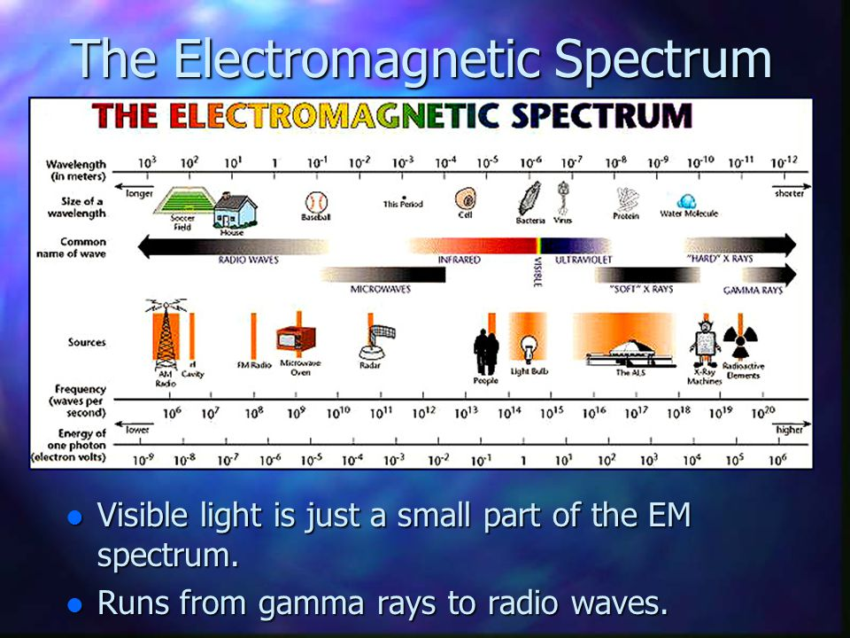 Visible light is just a small part of the EM spectrum. Visible light is just a small part of the EM spectrum. Runs from gamma rays to radio waves. Run