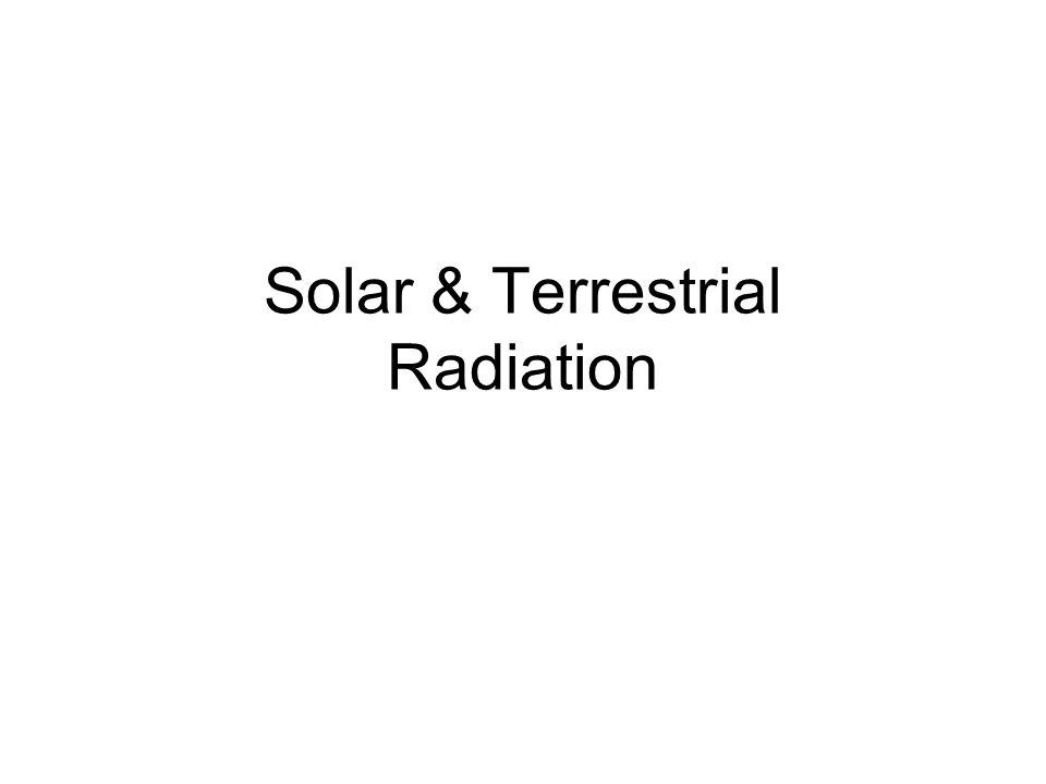 Solar & Terrestrial Radiation