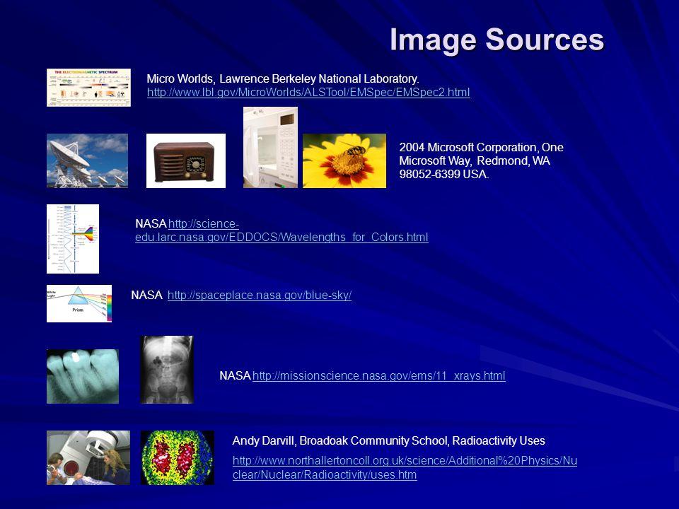 Micro Worlds, Lawrence Berkeley National Laboratory. http://www.lbl.gov/MicroWorlds/ALSTool/EMSpec/EMSpec2.html http://www.lbl.gov/MicroWorlds/ALSTool