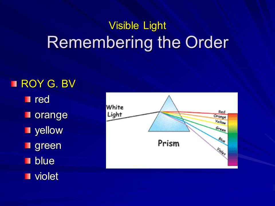ROY G. BV redorangeyellowgreenblueviolet Visible Light Remembering the Order