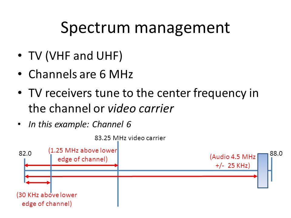 Spectrum management 82.0 83.25 MHz video carrier TV (VHF and UHF) Channels are 6 MHz TV receivers tune to the center frequency in the channel or video carrier In this example: Channel 6 88.0 (1.25 MHz above lower edge of channel) (Audio 4.5 MHz +/- 25 KHz) (30 KHz above lower edge of channel)