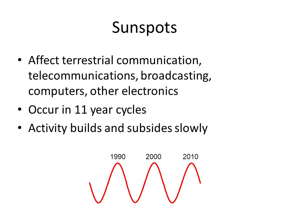 Sunspots Affect terrestrial communication, telecommunications, broadcasting, computers, other electronics Occur in 11 year cycles Activity builds and subsides slowly