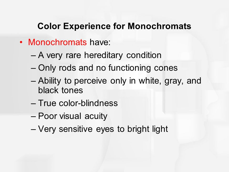 Color Experience for Monochromats Monochromats have: –A very rare hereditary condition –Only rods and no functioning cones –Ability to perceive only in white, gray, and black tones –True color-blindness –Poor visual acuity –Very sensitive eyes to bright light