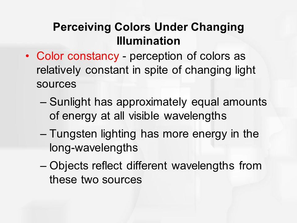 Perceiving Colors Under Changing Illumination Color constancy - perception of colors as relatively constant in spite of changing light sources –Sunlight has approximately equal amounts of energy at all visible wavelengths –Tungsten lighting has more energy in the long-wavelengths –Objects reflect different wavelengths from these two sources