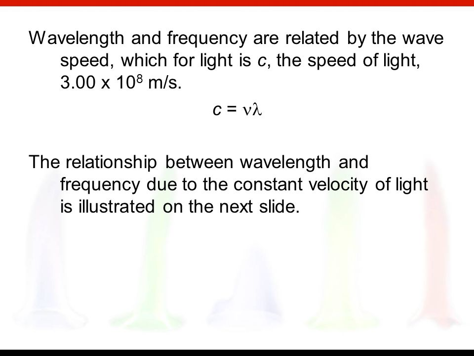 Frequency, symbolized by the Greek letter nu,, is the number of wavelengths that pass a fixed point in one unit of time (usually a second). The unit i