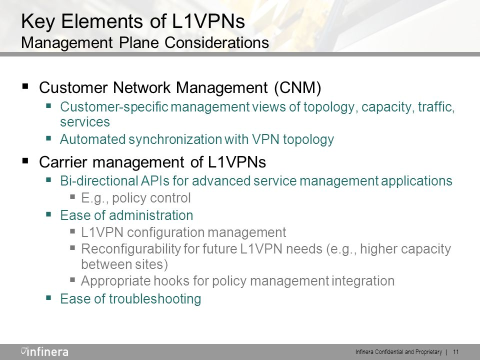 Infinera Confidential and Proprietary | 11 Key Elements of L1VPNs Management Plane Considerations  Customer Network Management (CNM)  Customer-specific management views of topology, capacity, traffic, services  Automated synchronization with VPN topology  Carrier management of L1VPNs  Bi-directional APIs for advanced service management applications  E.g., policy control  Ease of administration  L1VPN configuration management  Reconfigurability for future L1VPN needs (e.g., higher capacity between sites)  Appropriate hooks for policy management integration  Ease of troubleshooting