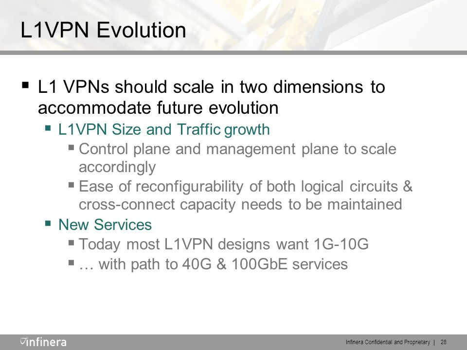 Infinera Confidential and Proprietary | 28 L1VPN Evolution  L1 VPNs should scale in two dimensions to accommodate future evolution  L1VPN Size and T
