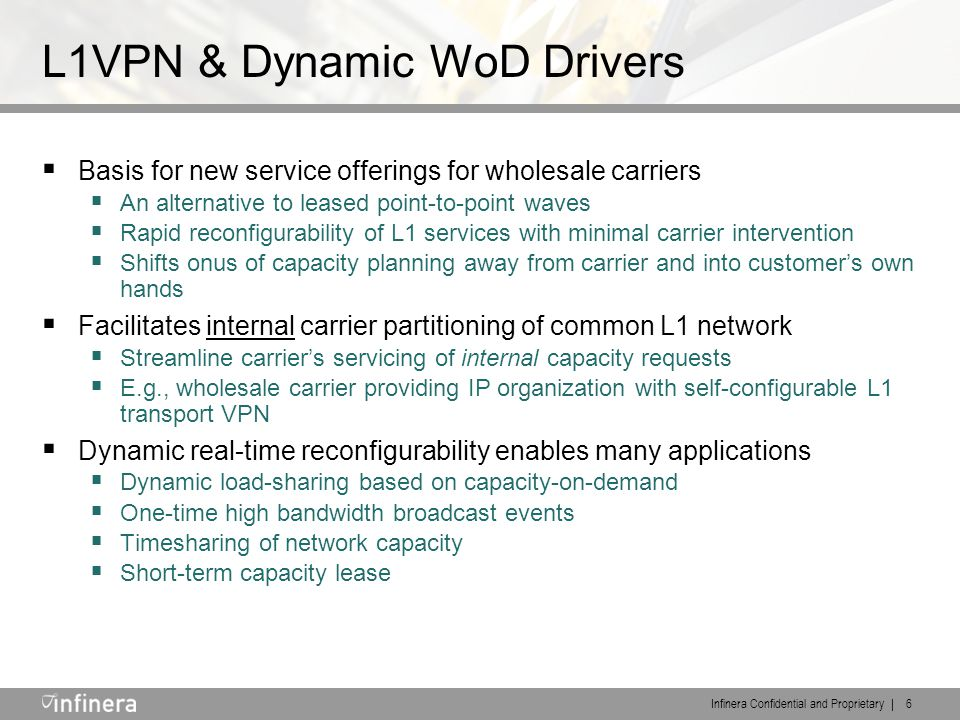 Infinera Confidential and Proprietary | 6 L1VPN & Dynamic WoD Drivers  Basis for new service offerings for wholesale carriers  An alternative to leased point-to-point waves  Rapid reconfigurability of L1 services with minimal carrier intervention  Shifts onus of capacity planning away from carrier and into customer's own hands  Facilitates internal carrier partitioning of common L1 network  Streamline carrier's servicing of internal capacity requests  E.g., wholesale carrier providing IP organization with self-configurable L1 transport VPN  Dynamic real-time reconfigurability enables many applications  Dynamic load-sharing based on capacity-on-demand  One-time high bandwidth broadcast events  Timesharing of network capacity  Short-term capacity lease