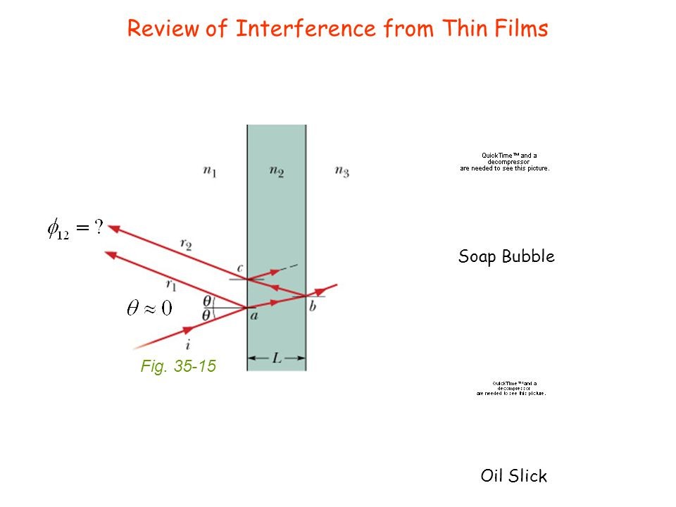 Review of Interference from Thin Films Fig. 35-15 Soap Bubble Oil Slick