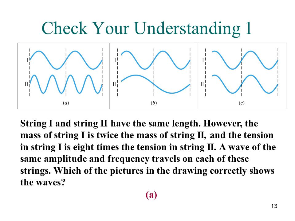 13 Check Your Understanding 1 String I and string II have the same length. However, the mass of string I is twice the mass of string II, and the tensi