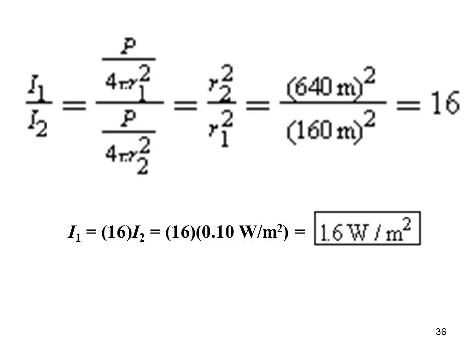 36 I 1 = (16)I 2 = (16)(0.10 W/m 2 ) =