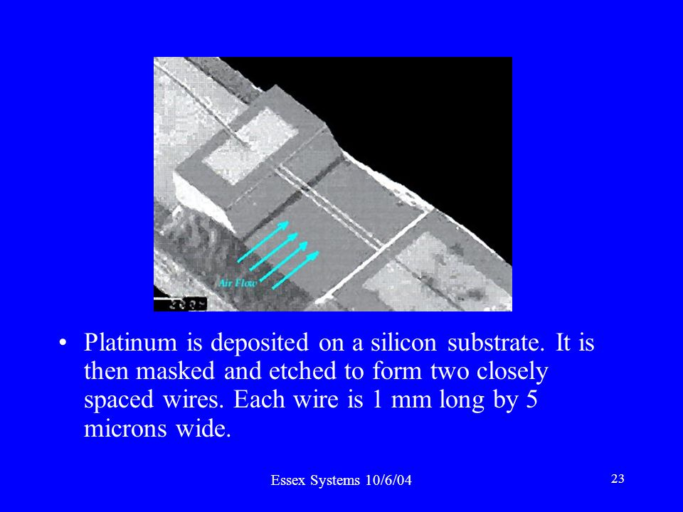 Essex Systems 10/6/04 23 Platinum is deposited on a silicon substrate.