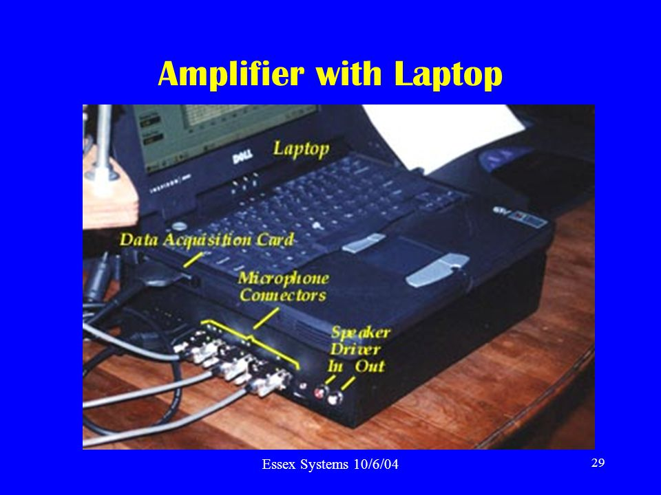 Essex Systems 10/6/04 29 Amplifier with Laptop