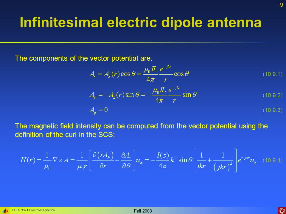 ELEN 3371 Electromagnetics Fall 2008 9 Infinitesimal electric dipole antenna The components of the vector potential are: The magnetic field intensity